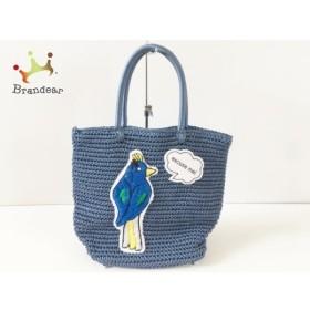 ラドロー LUDLOW トートバッグ ブルー×マルチ 鳥 化学繊維   スペシャル特価 20190803