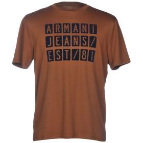 《期間限定 セール開催中》ARMANI JEANS メンズ T シャツ ブラウン XS 100% コットン