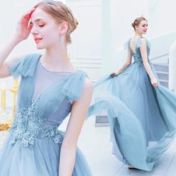 【ANGEL】肌透けチュールレースビーズノースリーブ背中編上げAラインロングドレス【送料無料】高品質 ブルー 水色 ロングドレス パー