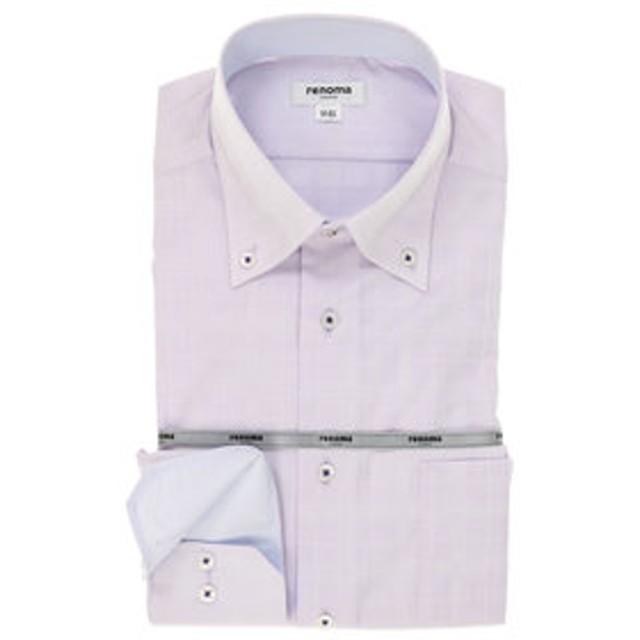 【TAKA-Q:トップス】形態安定レギュラーフィット ドゥエボットーニボタンダウン長袖ビジネスドレスシャツ