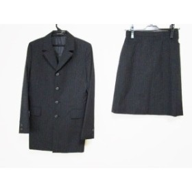 イネド INED スカートスーツ レディース 黒×ダークグレー ストライプ【中古】