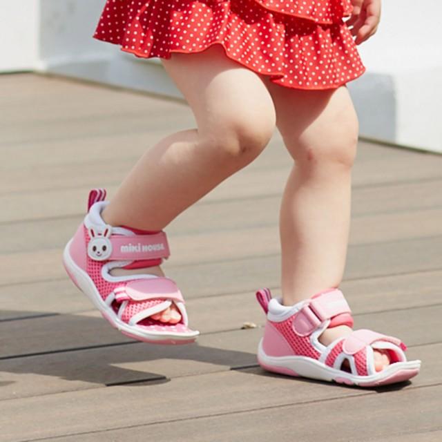 ミキハウス 【アウトレット】つま先ガード ダブルラッセルベビーサンダル 白×ピンク