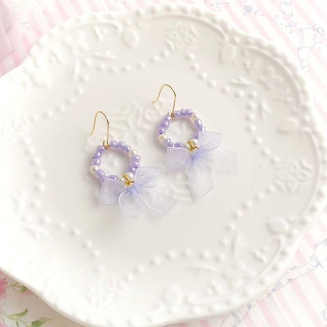 かわいいゴージャスな紫色の小さな真珠のリング弓フック耳クリップまたはクリップイヤリング