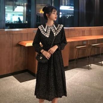 春新作 ワンピース 韓国 ファッション レディース シフォン ロングワンピース レトロ ドット柄 ワンピース 大きめ襟 ワンピース