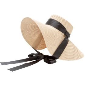 帽子全般 - 夢展望 帽子 結びリボン つば広帽 夏 小顔 紫外線対策 可愛い ホワイト F レディース 夢展望