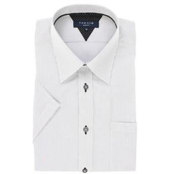 【TAKA-Q:トップス】形態安定スリムフィットレギュラーカラー半袖ビジネスドレスシャツ