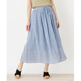 ロングスカート - pink adobe コットン100%ウエストリボン ギャザースカート