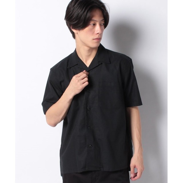 【50%OFF】 コエ 麻オープンカラーシャツ メンズ ブラック M 【koe】 【セール開催中】