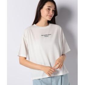 【50%OFF】 デイジーメリー ロゴ刺繍Tシャツ レディース オフホワイト L 【DAISY MERRY】 【セール開催中】