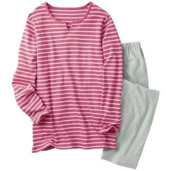 【レディース】 ボーダーTタイプパジャマ(綿100%) ■カラー:コスモスピンク ■サイズ:S,M,L,LL,3L,5L
