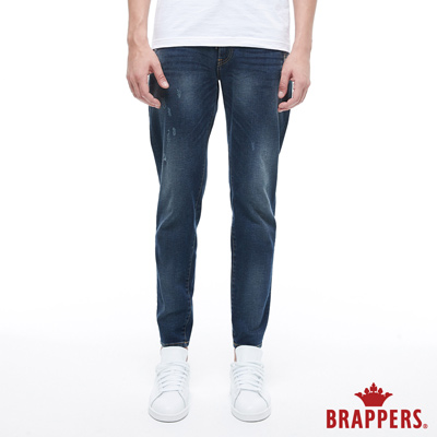 BRAPPERS 男款 鬆緊帶窄管束口褲-藍