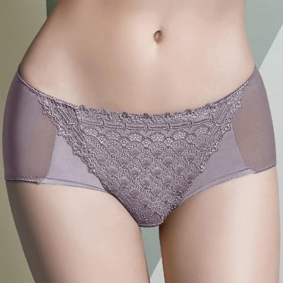 華歌爾 大V背系列 M-LL 中低腰三角褲(紫芋)