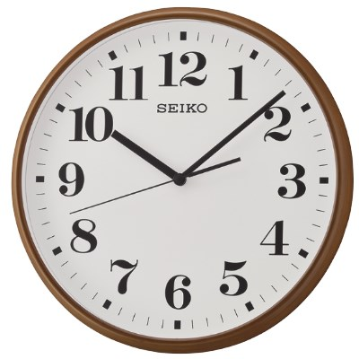 SEIKO 日本精工 數字 滑動式秒針 掛鐘 時鐘(QXA697B)-白-咖啡框35cm