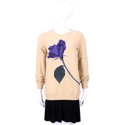 Max Mara-SPORTMAX 駝黑色花朵圖案雙材質拼接洋裝
