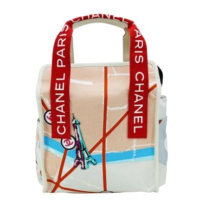 CHANEL 帆布塗鴉亮片刺繡手提包(紅)-展示品
