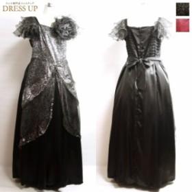 [送料無料] カラードレス ロングドレス 黒 ステージ衣装 袖あり 4Lサイズ カラオケ衣装 半袖 声楽衣装 演奏会ドレス シャンソン衣装 E27