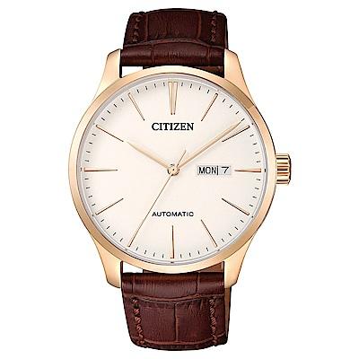CITIZEN星辰 簡潔型男皮帶機械腕錶(NH8353-18A)- 白/41mm