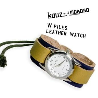 ▲WPILES メンズライクなネイビーとカーキのバイカラー「Wパイルズ 腕時計」タラリン♪コード(WPW-NON-O)