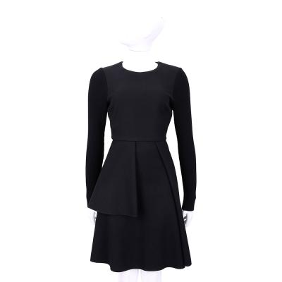 Max Mara-SPORTMAX 黑色剪裁拼接長袖洋裝