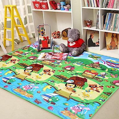兒童爬行墊 卡通多功能戶外野餐墊-迴紋雙面-花色隨機出貨(200x180)