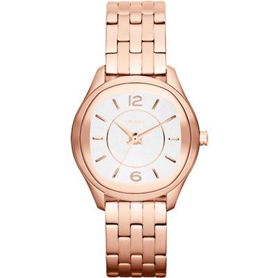 DKNY 城市漫步都會時尚腕錶-白x玫瑰金/34mm