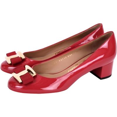 Salvatore Ferragamo NINNA 漆皮蝴蝶結粗跟鞋(紅色)