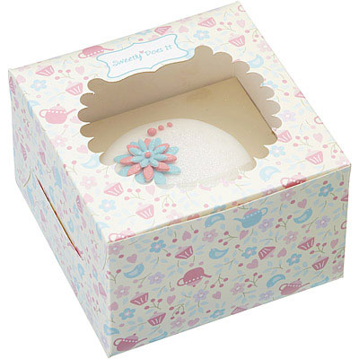 Sweetly 單格瑪芬蛋糕紙盒4入(午茶粉)