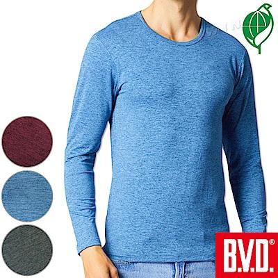 BVD 再生彩紋輕暖絨圓領長袖衫(三色可選)