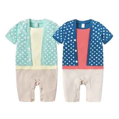 baby童衣 嬰兒連身衣 假三件亮彩短袖爬服60145