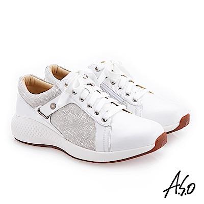 A.S.O 阿瘦 輕量抗震 戶外健走休閒鞋 白 10014000335-11