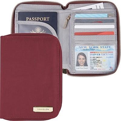《TRAVELON》對開拉鍊護照包(胭紅)