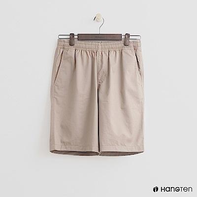 Hang Ten - 男裝-鬆緊純色棉質短褲 - 卡其