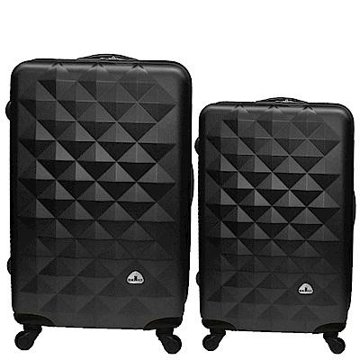 Bear Box 立體菱格晶鑽系列經典二件組28吋24吋 輕硬殼旅行箱行李箱-黑色