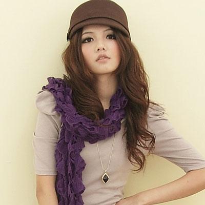 【I-shi】暖呼呼~毛線泡泡厚款圍巾(紫色)