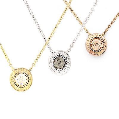 COACH 時尚氣質水鑽圓形墜飾項鍊(金/銀/玫瑰金)