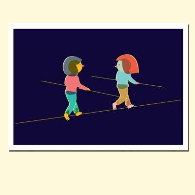摩達客西班牙插畫家Judy Kaufmann藝術創作海報掛畫裝飾畫-朋友走鋼索