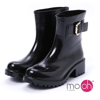 mo.oh -愛雨天-素面大方扣中筒粗跟雨靴-黑金色