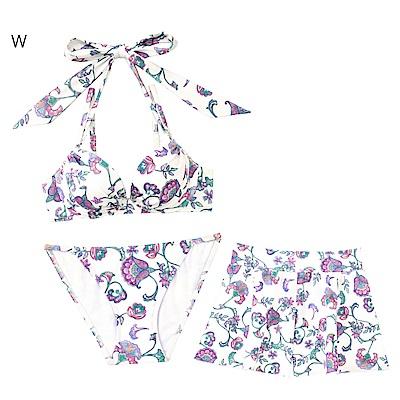 aimerfeel 東洋風花卉3件式泳衣-白色