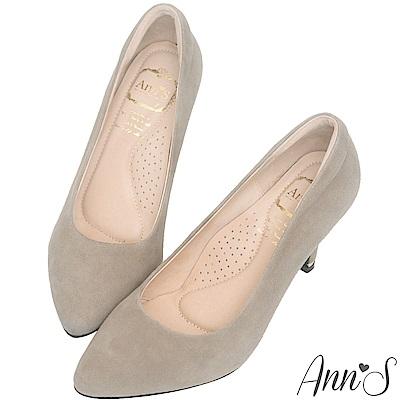 Ann'S 危險迷人3D氣墊細緻羊麂皮尖頭高跟鞋 灰