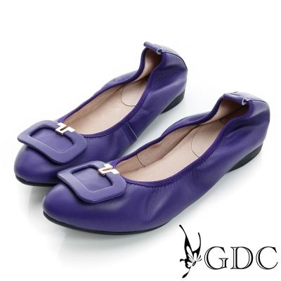 GDC都會-方形飾扣柔軟彈性真皮低跟鞋-紫色