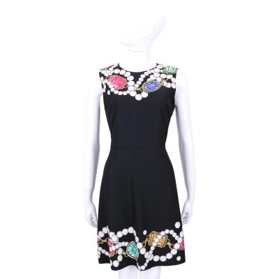 BOUTIQUE MOSCHINO 黑色珠寶圖印無袖洋裝