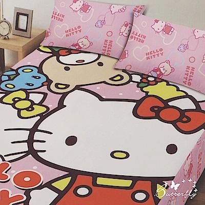 BUTTERFLY- Kitty凱蒂貓 搖粒絨 刷毛雙人床包三件組-歡樂同好會