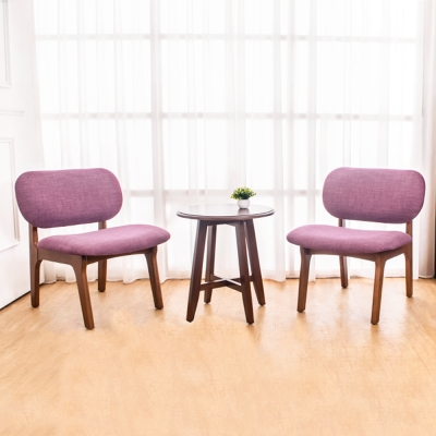 Boden-伊德實木餐椅+小茶几組合(一桌二椅)-50x50x55cm