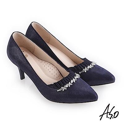 A.S.O 阿瘦 流金歲月 水鑽飾釦抓皺鞋面高跟鞋 深藍 10027000645-89