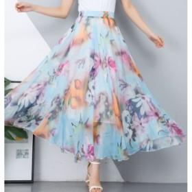 ロングスカート マキシスカート フレアスカート 大きいサイズ 春 夏 ロング 柄 黒 スカート シフォンスカート チュールスカート ボトムス