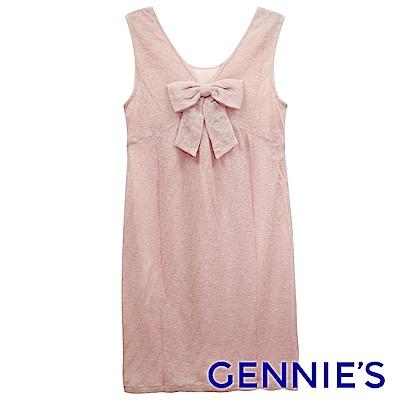 Gennies專櫃-V領蝴蝶結背心洋裝(粉)G2229