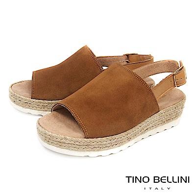 Tino Bellini 西班牙進口簡約寬帶魚口麻編楔型涼鞋 _ 棕