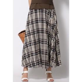 QUEENS COURT / カラーチェックロングプリーツスカート