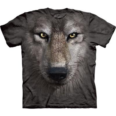 摩達客-美國The Mountain 狼臉 兒童版純棉環保短袖T恤