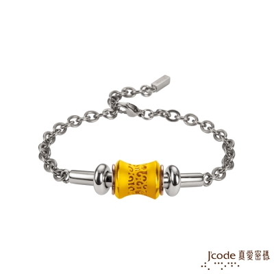 J code真愛密碼金飾 愛情軌跡黃金/白鋼男手鍊